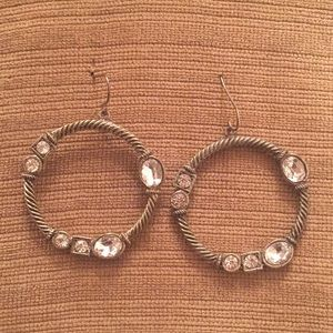 Jewelry - Silver Hoop Earrings with Sparkles